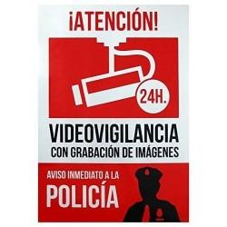 Cartel Disuasorio Alarma Vigilancia Conectada 24h Aviso a Policia