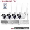 KIT de Vigilancia Exterior 4 CÁMARAS WIFI 720P NVR Versión castellano + DISCO DURO 1TB