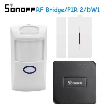 Puente RF de 433Mhz  + PIR 1 Sensor de movimiento + 1 puerta y ventana para sistema de alarma  Alexa