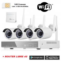 OFERTA ! - KIT NVR de Vigilancia Exterior 4 CÁMARAS WIFI NVR Versión castellano + APP Android & Iphone