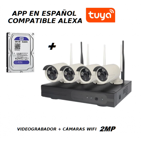 "KIT NVR ORIGINAL VERSION ESPAÑOL + APP "" Tuya"" + 4 CÁMARAS WIFI HD"