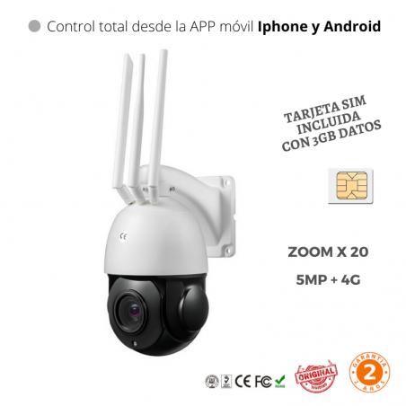 Cámara 5MP 3G 4G Wifi IP con tarjeta SIM 4G