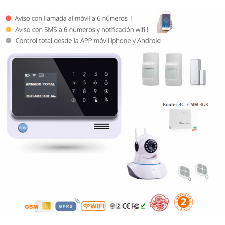 KIT 291-15 * Kit de Alarma G90B Plus Original  WIFI GSM GPRS SMS + Router 4G + SIM internet