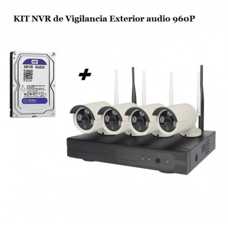 KIT NVR de Vigilancia Exterior audio 1080P HD 2MP 4 CÁMARAS WIFI NVR Versión castellano + APP Android & Iphone