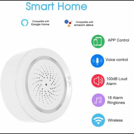 Sensor WiFi, Tuya/Smart Life App, sirena de 100dB + Sensor de Temperatura y Humedad WiFi, Compatible con Alexa Google Home