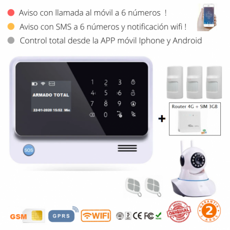 KIT 291-12 * Kit de Alarma G90B Plus Original  WIFI GSM GPRS SMS + Router 4G