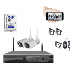 KIT NVR WIFI de Vigilancia Exterior/Interior audio HD CÁMARAS Versión castellano + APP Android & Iphone