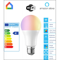 Bombilla LED WiFi DV-E27W ajustable color y brillo compatible alarma